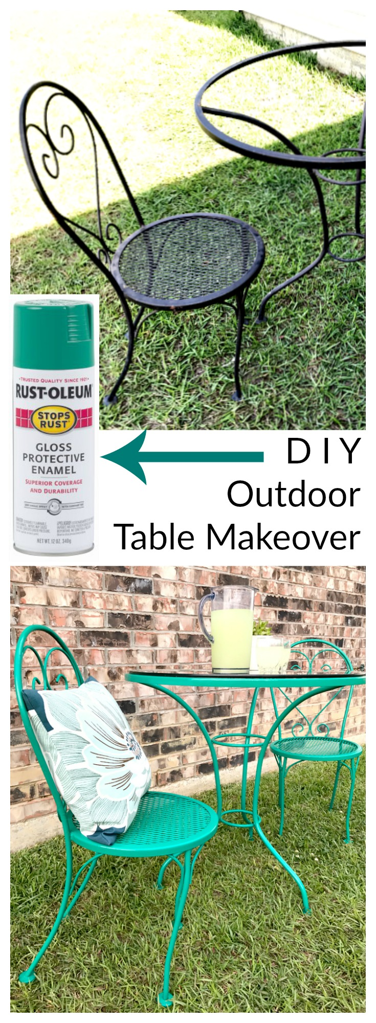 This rusty bistro table looked awful but you won't believe how easy the makeover was!