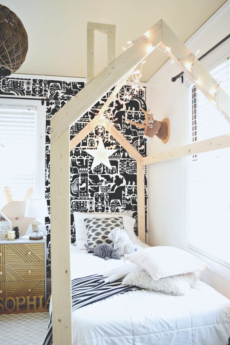 DIY Kids' Bedroom Twin House Frame Bed
