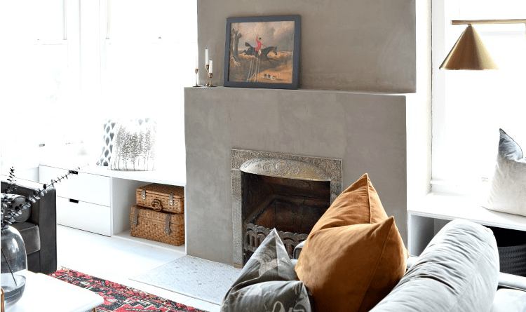DIY Concrete Fireplace Makeover