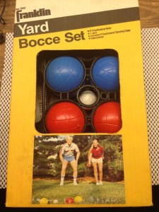 Bocce set from the 1980s...nice shorts dude.