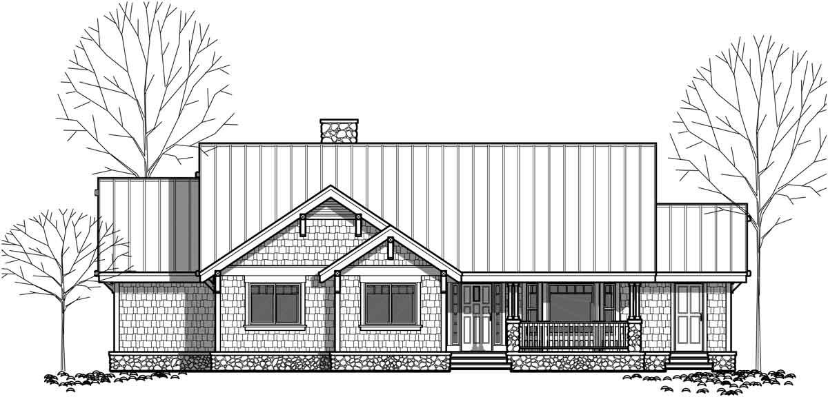 One Level House Plans, Single Level Craftsman House Plans
