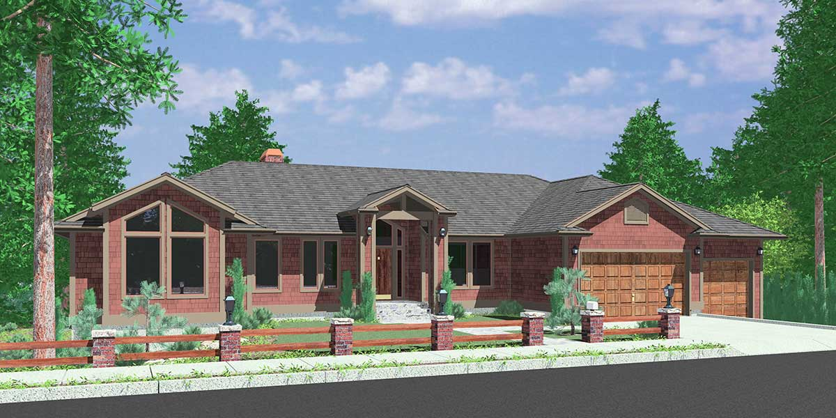 Custom Ranch House Plan W/ Daylight Basement And RV Garage