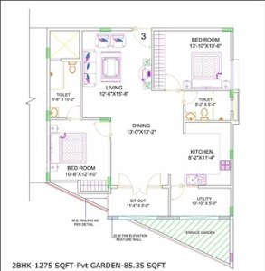 2BHK TRAPEZOIDAL SHAPE PLOT FLOOR PLANS