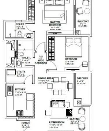 2 BHK SPACIOUS HOUSE PLAN