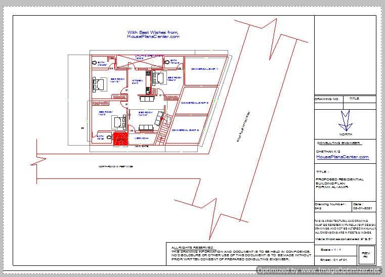corner plot 50x35x40 house plan