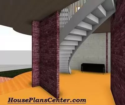 Staircase semi circular design for good space planning by HousePlansCenter.com