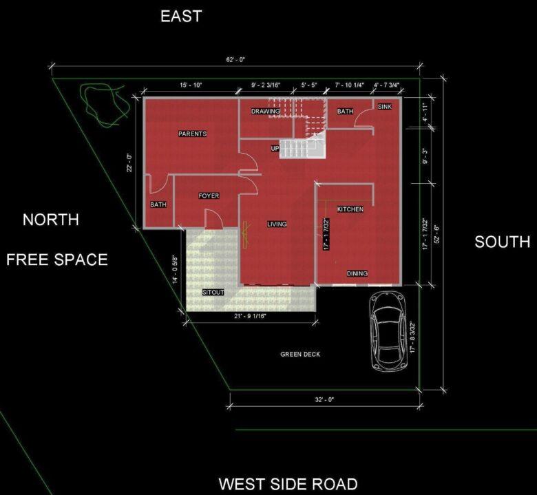 house plan trapezoidal