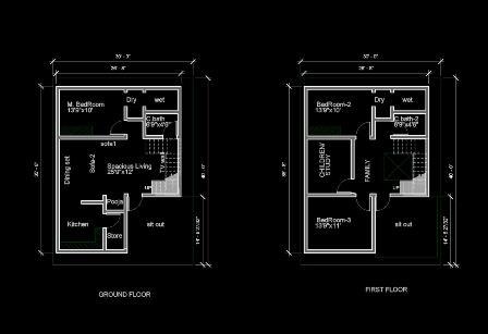 30X40 EAST DUPLEX modern house plan G+1