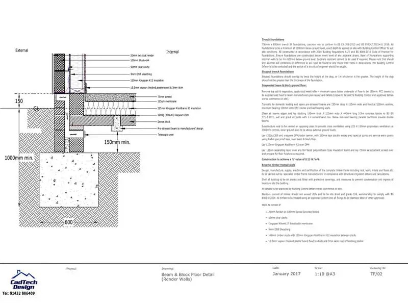 Beam And Block Floor With Render Walls Detail Drawing