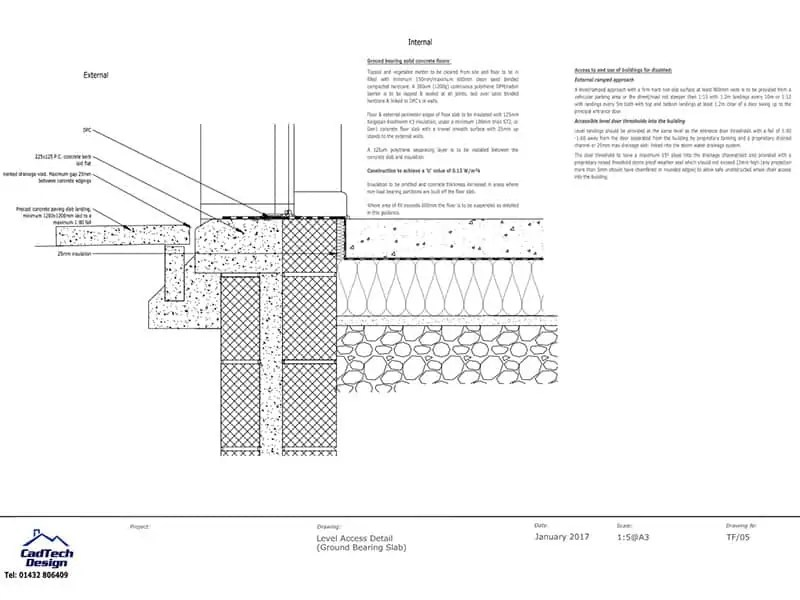 Ground Bearing Slab Level Access Detail Drawing