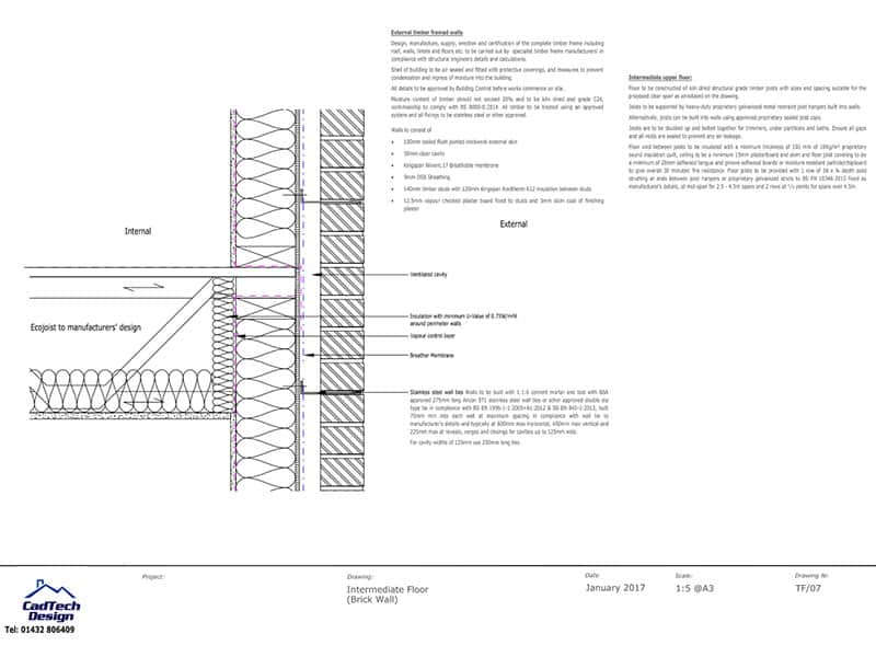 Intermediate Floor With Brick Wall Detail Drawing PDF