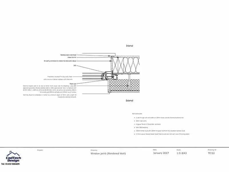 Window Jamb Detail in Rendered Wall Detail Drawing