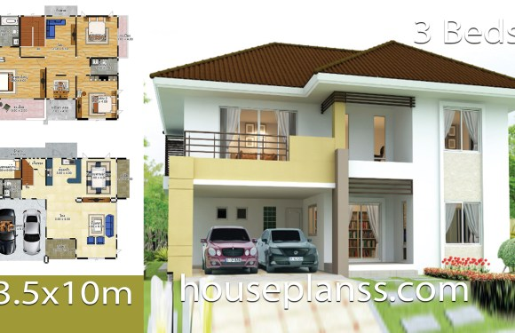 House design idea 13.5×10 with 3 bedrooms