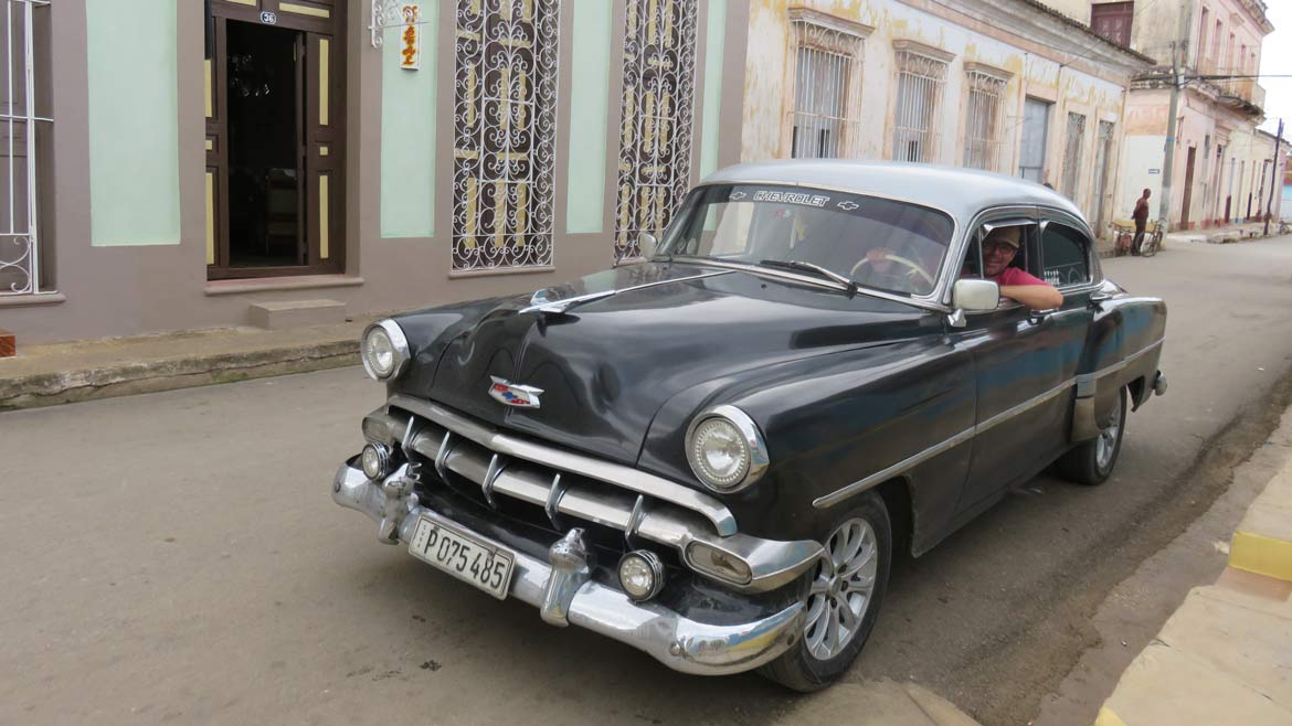 Because I could negotiate in Spanish, and could chat to the driver, I got to drive this Chevvy 54 for over 50 km through the Cuban countryside