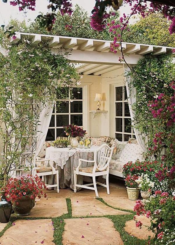 20 Cozy and Romantic Pergola Decor Ideas | House Design ... on Cottage Patio Ideas id=76899