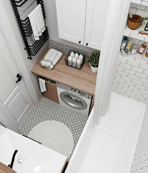 32 Modern Laundry Room Ideas In Bathroom For Small Spaces on Small Space Small Bathroom Ideas With Washing Machine id=88871