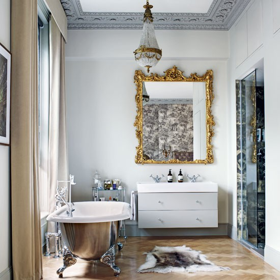 Grey opulent bathroom
