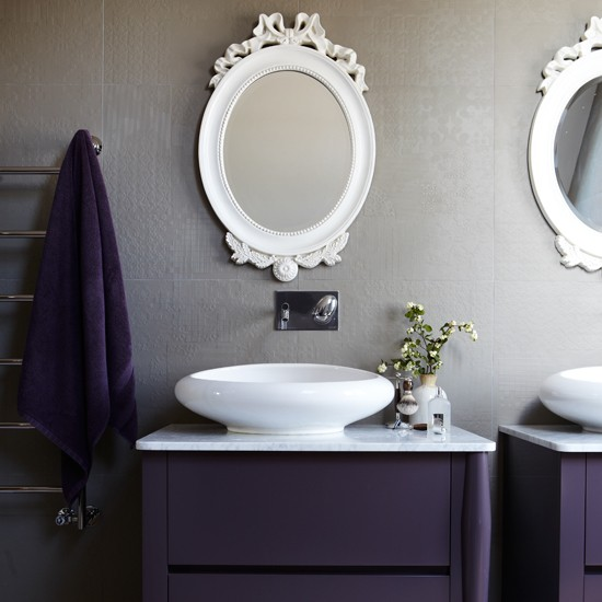 Aubergine and grey modern bathroom