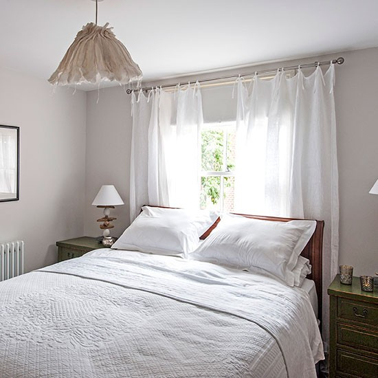 White bedroom with sheer curtains   Decorating ... on Beautiful Bedroom Curtains  id=38797