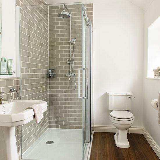 Grey and white tiled bathroom | Decorating | housetohome.co.uk on Small Bathroom Ideas Uk id=18632