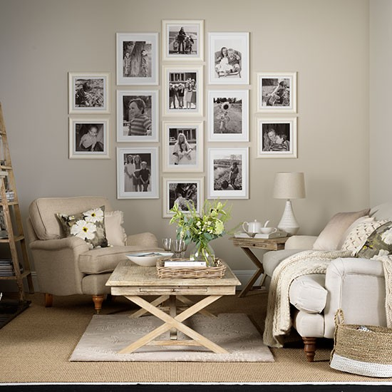 neutral living room decor Neutral living room with photo display | Decorating | housetohome.co.uk