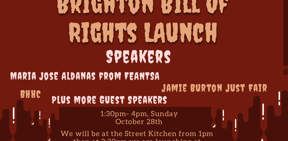 Spooky Halloween Poster Launching Brighton Homeless Bill of Rights