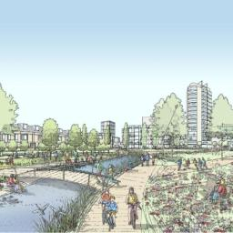 An artist's impression of the new Collyhurst Village Park as part of the Northern Gateway project.