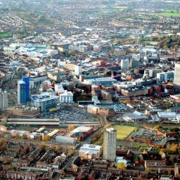 An aerial shot of Leicester.