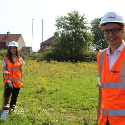 Two people on a development site in Easington, County Durham.