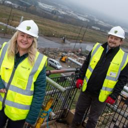 Councillor Linda Hobson, Cabinet Member for Housing at Newcastle City Council and Ian Avis, regional construction manager for Tolent.