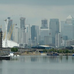 London skyline from the ExCel centre in Newham, East London.