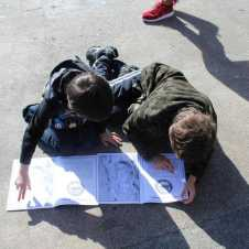 Working on their park books.