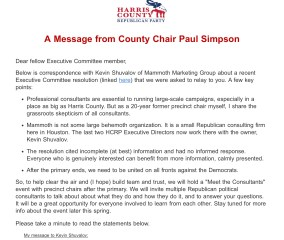 Paul Simpson Failed to Adhere to Harris GOP Resolution
