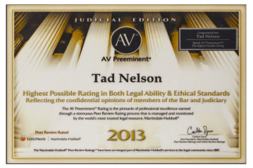 Tad Credentials 08 Highest Rating in Legal Ability AV Preeminent