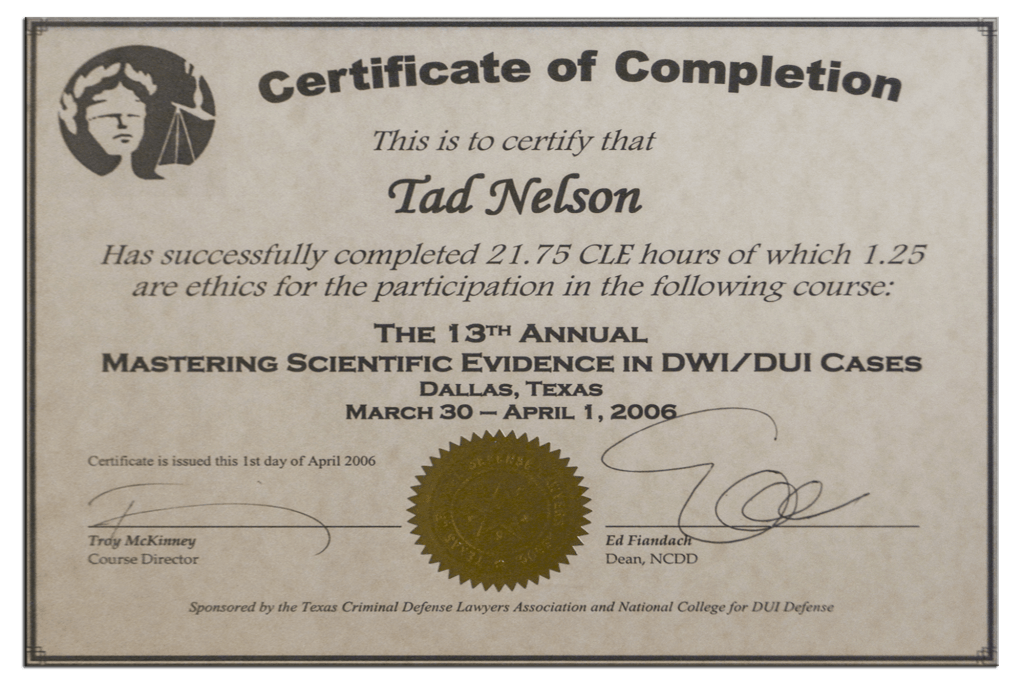 Tad Credentials - 21 - Mastering Scientific Evidence in DWI Cases