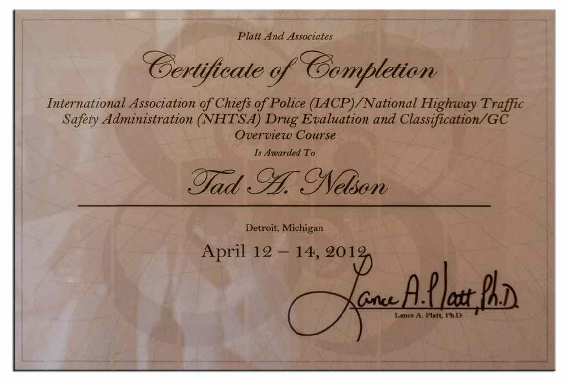 DRE: Drug Evaluation & Classification Course Certificate