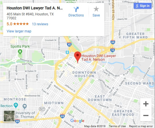 Houston DWI Lawyer Tad A Nelson's law office location.