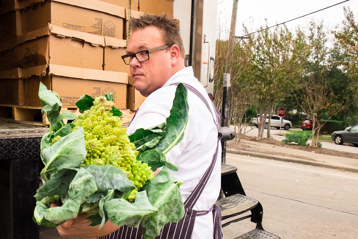 Chris Shepherd with Romanesco broccoli