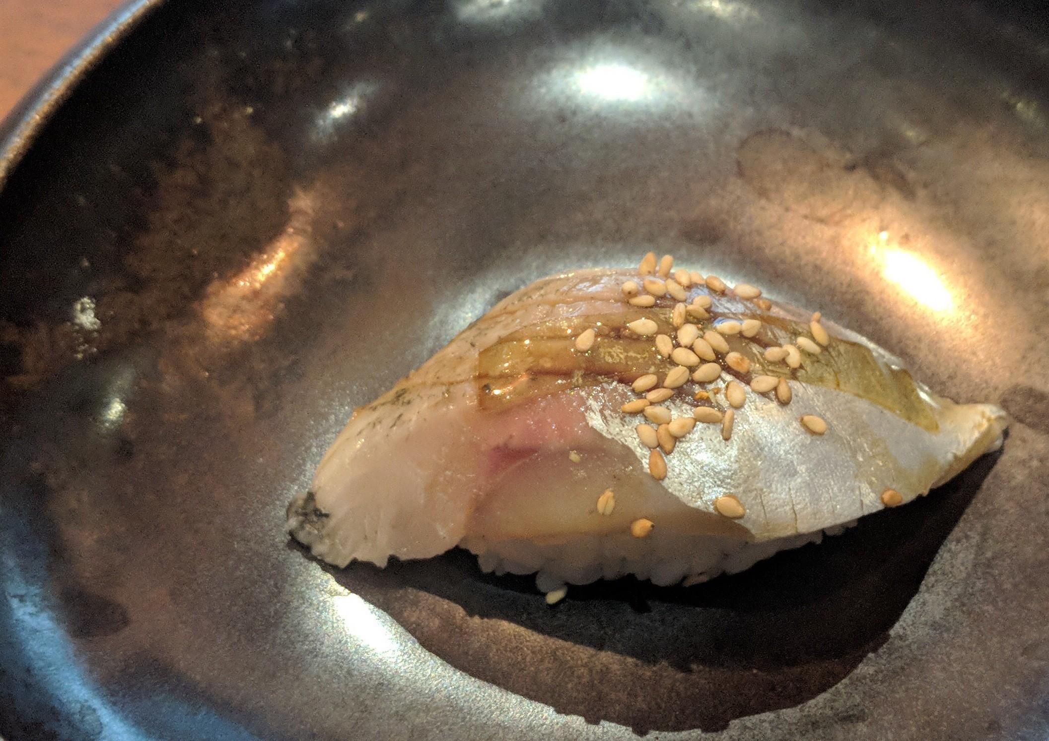 Marinated mackerel nigiri at Shun