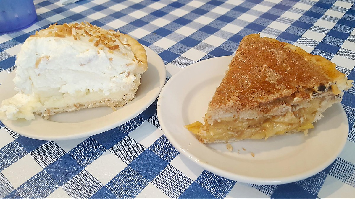 Coconut cream and apple pies at The Jay Café in Needville