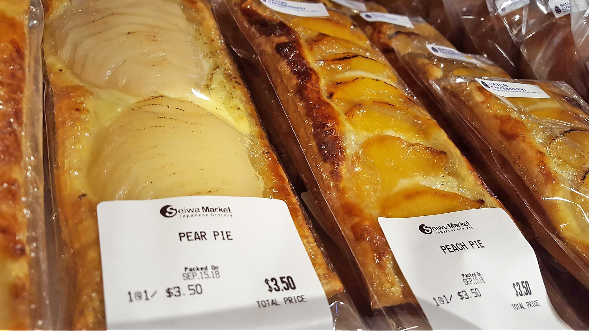 Pear and peach slab pies at Seiwa market