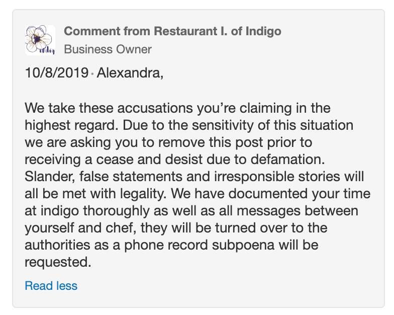 Restaurant Indigo's response to sexual harassment complaint on Yelp