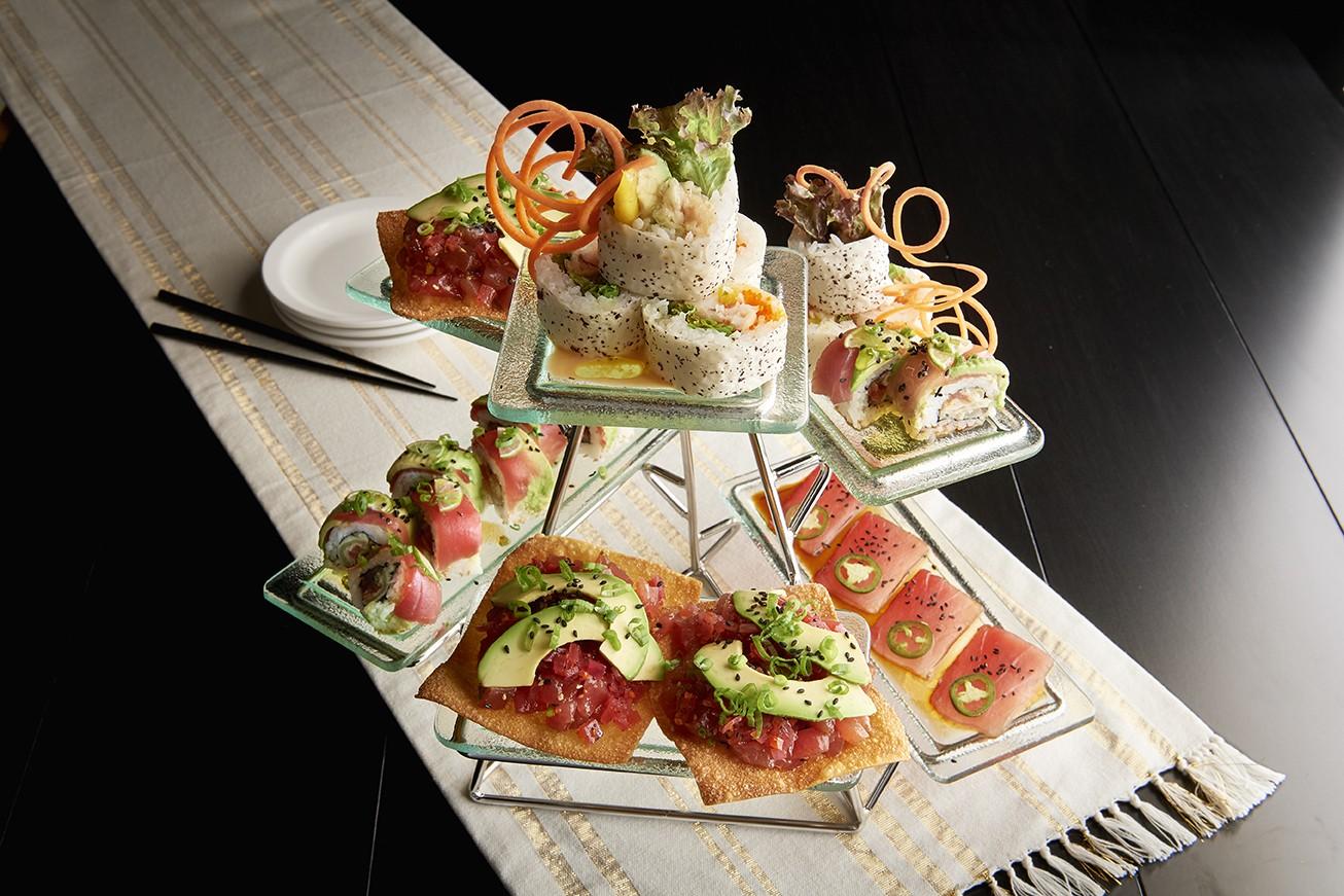 Sushi tower at Mastro's Restaurant