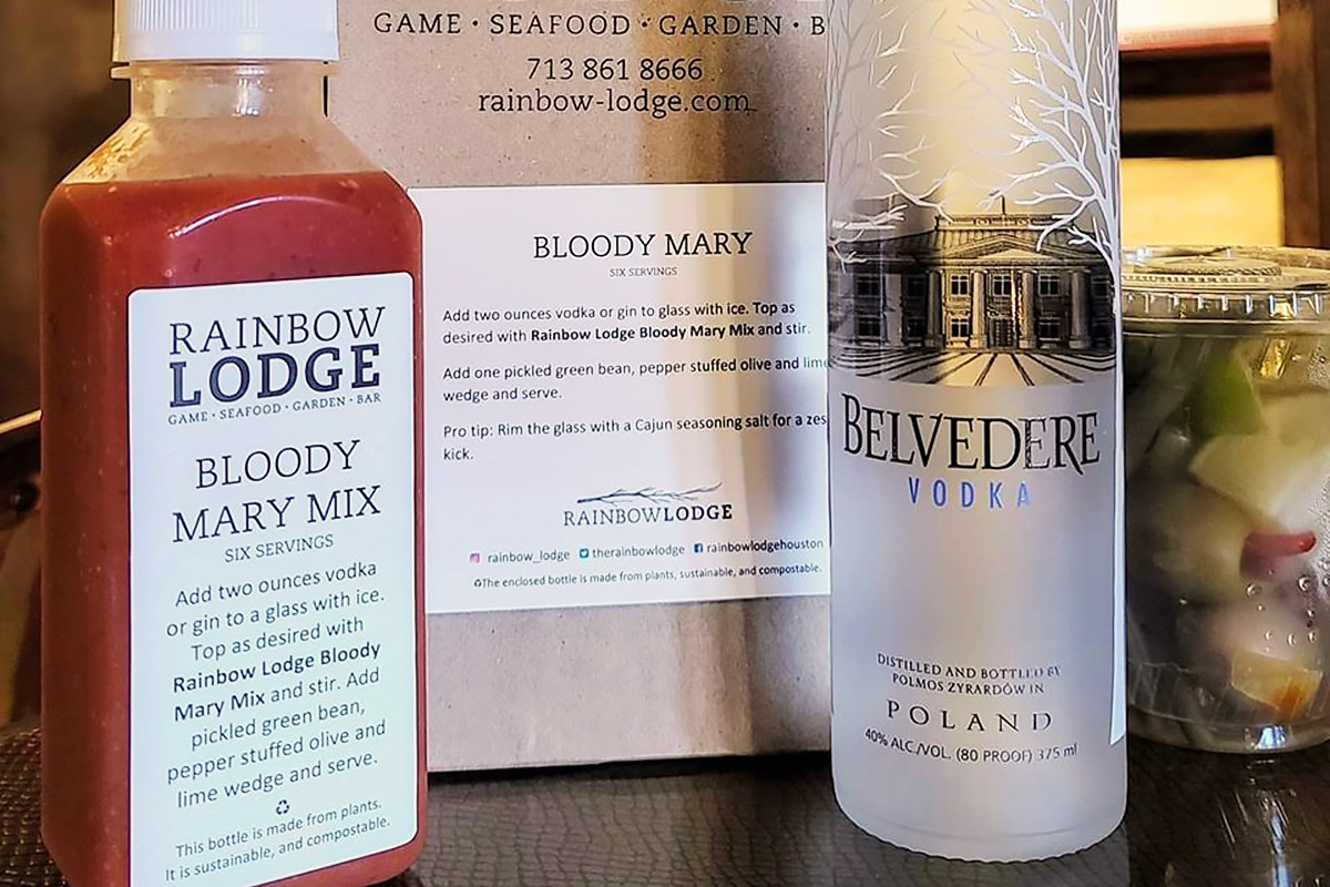 cocktail kit with Bloody Mary mix and alcohol
