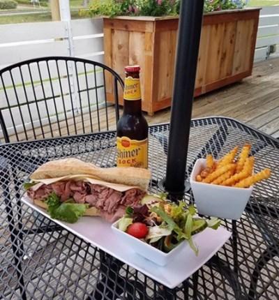 sandwich, salad and fries at La Tartine