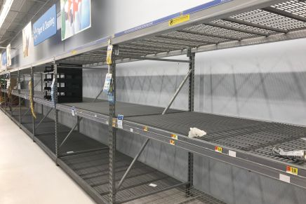Empty Shelves after Consumers Stock Up for COVID-19