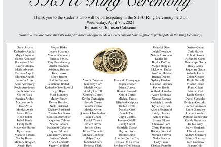 Advertisement: Spring 2020 SHSU Ring Ceremony Recipients