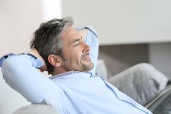 middle aged man relaxing