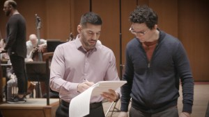 Houston Symphony Composer-in-Residence Jimmy López Bellido works with student composer Alejandro Basulto.