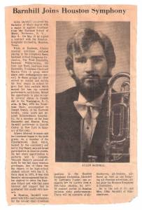 Newspaper clipping of musician.